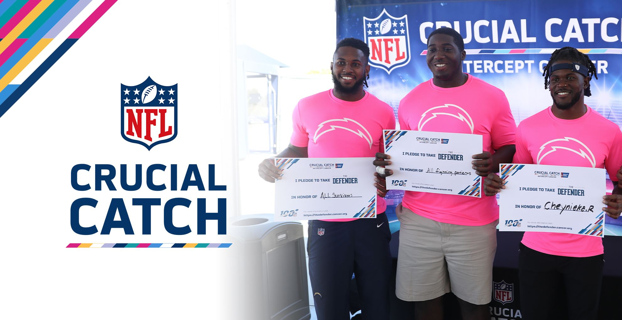 The NFL and the American Cancer Society know that when it comes to cancer, the best defense is a good offense. October is Crucial Catch month and we want you to join the fight against cancer. Learn more about early detection, risk reduction, and how to get screened today.