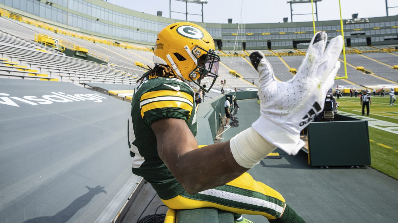 Mic D Up Green Bay Packers Running Back Aaron Jones Wired For His First Lambeau Leaps Of 2020 Week 2