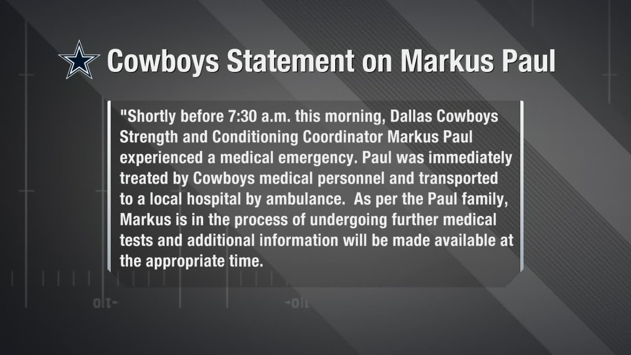 66n3ulbnypefqm https www nfl com videos cowboys strength and conditioning coordinator markus paul hospitalized for medic
