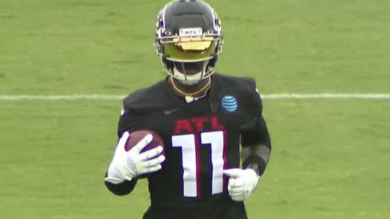 First Look Atlanta Falcons Wide Receiver Julio Jones Rocks Sick Visor Sleek New Falcons Practice Uniform
