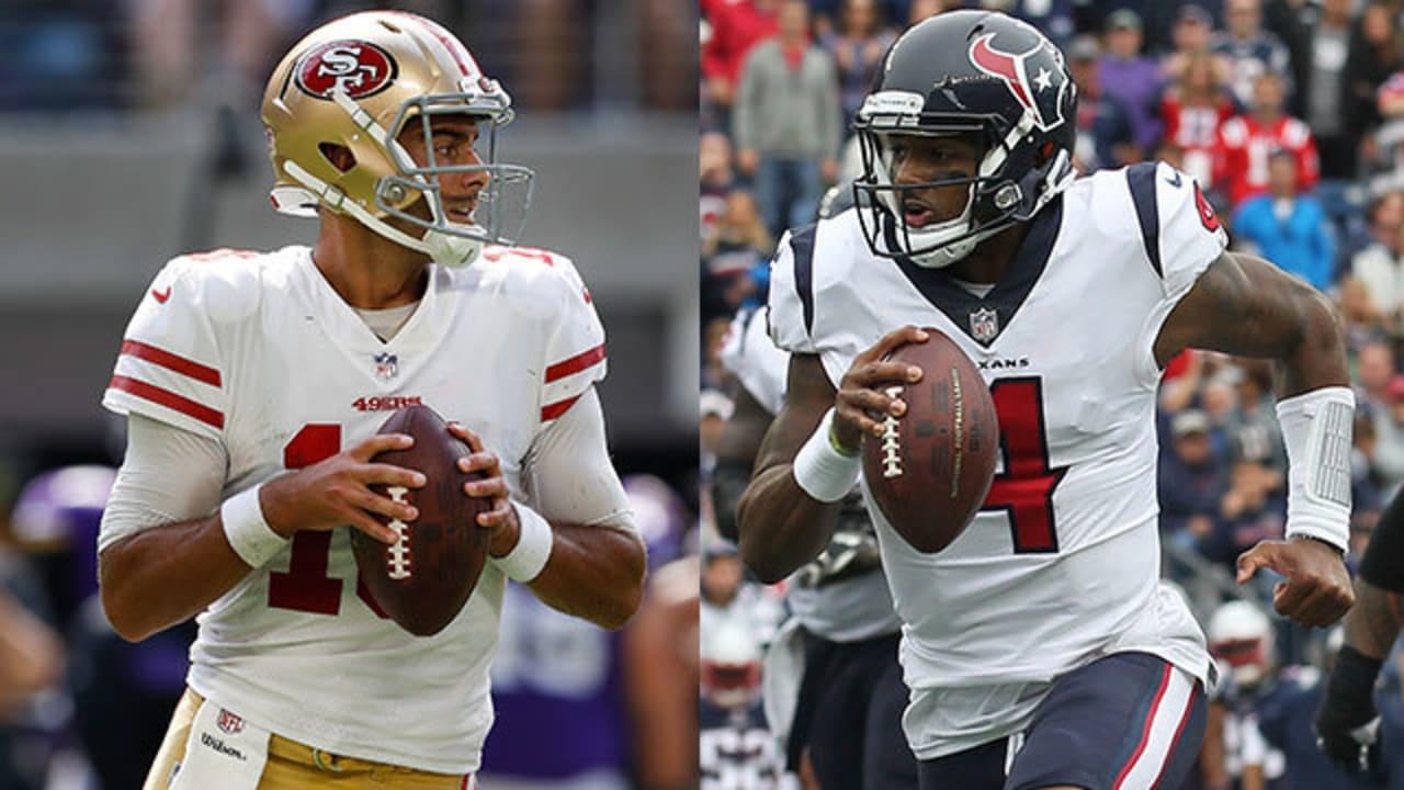 Better fantasy option: San Francisco 49ers quarterback Jimmy Garoppolo or  Houston Texans quarterback Deshaun Watson?