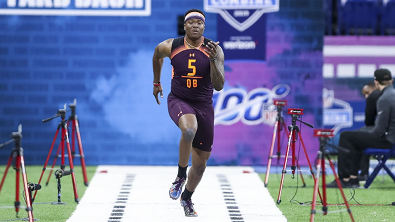 Ohio State quarterback Dwayne Haskins runs an official 5.04 40-yard dash at  2019 combine
