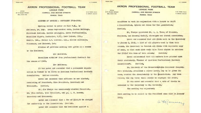 The minutes from the Sept. 17, 1920 meeting in Canton, Ohio, announced the formation of the American Professional Football Association. (Courtesy of the Pro Football Hall of Fame)