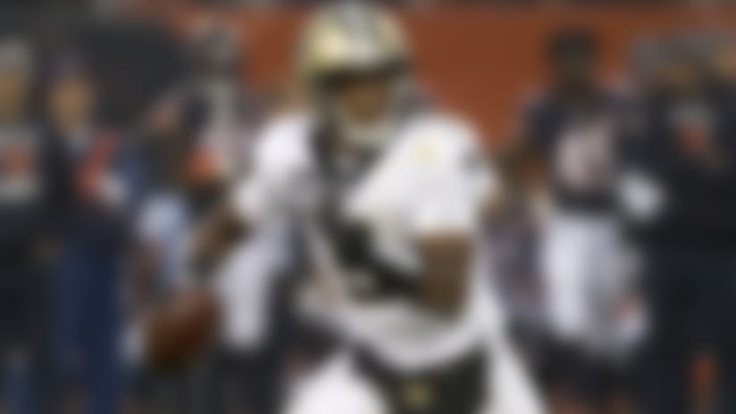 New Orleans Saints' Teddy Bridgewater scrambles during the second half of an NFL football game against the Chicago Bears in Chicago, Sunday, Oct. 20, 2019. (AP Photo/Charles Rex Arbogast)