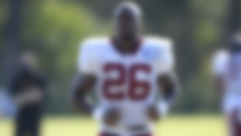 Washington running back Adrian Peterson (26) runs on the field during practice at the team's NFL football training facility, Monday, Aug. 24, 2020, in Ashburn, Va. (AP Photo/Nick Wass)