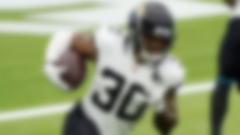 Jacksonville Jaguars running back James Robinson (30) runs against the Los Angeles Chargers in an NFL football game Sunday, Oct. 25, 2020, in Inglewood, Calif. (AP Photo/Alex Gallardo )