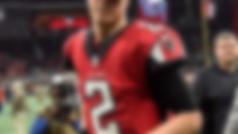 Dec 31, 2017; Atlanta, GA, USA; Atlanta Falcons quarterback Matt Ryan (2) reacts as he leaves the field after defeating the Carolina Panthers at Mercedes-Benz Stadium. Mandatory Credit: Dale Zanine-USA TODAY Sports