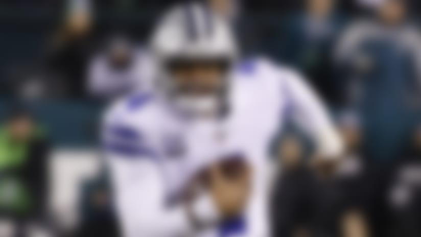 Dallas Cowboys quarterback Dak Prescott in action during an NFL football game against the Philadelphia Eagles Sunday, Dec. 22, 2019, in Philadelphia. (AP Photo/Michael Perez)