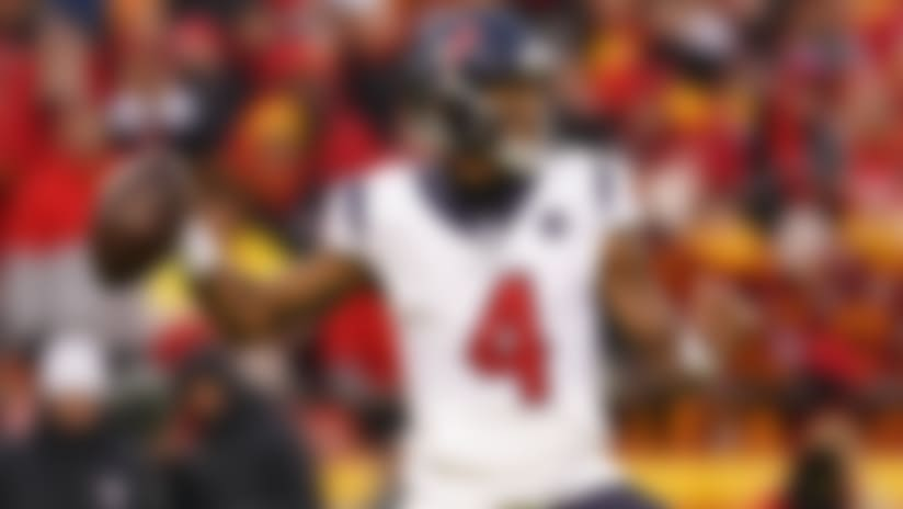 Houston Texans quarterback Deshaun Watson (4) throws during an NFL divisional playoff football game against the Kansas City Chiefs, Sunday, Jan. 12, 2020, in Kansas City, Mo. The Chiefs beat the Texans 51-31. (Cooper Neill via AP)