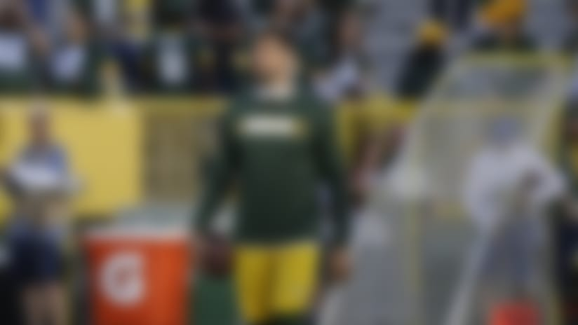 Green Bay Packers' Aaron Rodgers warms up before an NFL football game against the Chicago Bears Sunday, Sept. 9, 2018, in Green Bay, Wis. (AP Photo/Jeffrey Phelps)