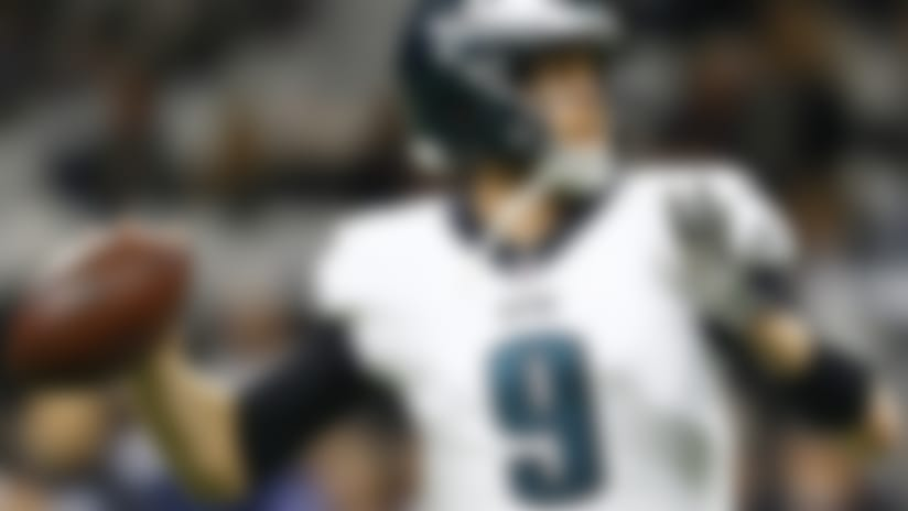Philadelphia Eagles quarterback Nick Foles (9) warms up before before an NFL divisional playoff football game against the New Orleans Saints, in New Orleans, Sunday, Jan. 13, 2019. (AP Photo/Butch Dill)