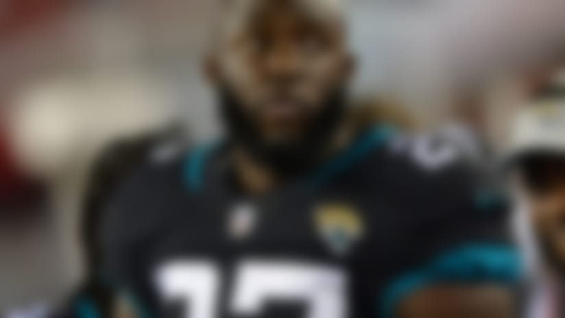 Jacksonville Jaguars running back Leonard Fournette (27) during the first half of an NFL preseason football game against the Tampa Bay Buccaneers Thursday, Aug. 30, 2018, in Tampa, Fla. (AP Photo/Jason Behnken)