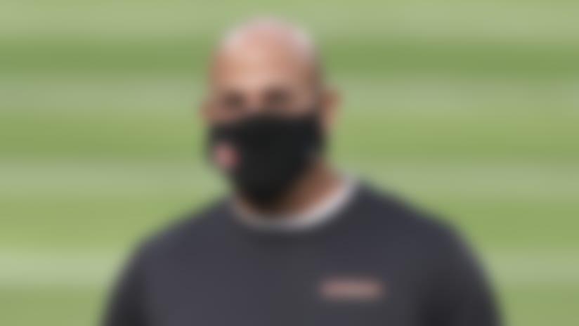San Francisco 49ers defensive coordinator Robert Saleh prior to an NFL football game against the Los Angeles Rams, Nov. 29, 2020 in Inglewood, Calif. (Ben Liebenberg via AP)