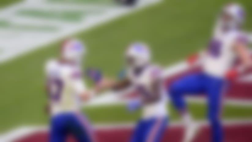 Nov 15, 2020; Glendale, Arizona, USA; Buffalo Bills quarterback Josh Allen (17) celebrates a touchdown against the Arizona Cardinals during the first half at State Farm Stadium. Mandatory Credit: Joe Camporeale-USA TODAY Sports