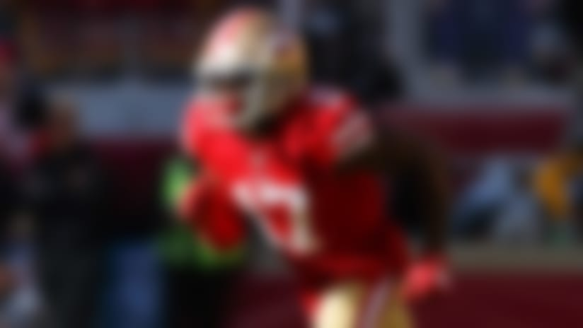 San Francisco 49ers wide receiver Emmanuel Sanders (17) runs a route during an NFL divisional playoff football game against the Minnesota Vikings, Saturday, Jan. 11, 2020, in Santa Clara, Calif. The 49ers defeated the Vikings, 27-10. (Ryan Kang via AP)