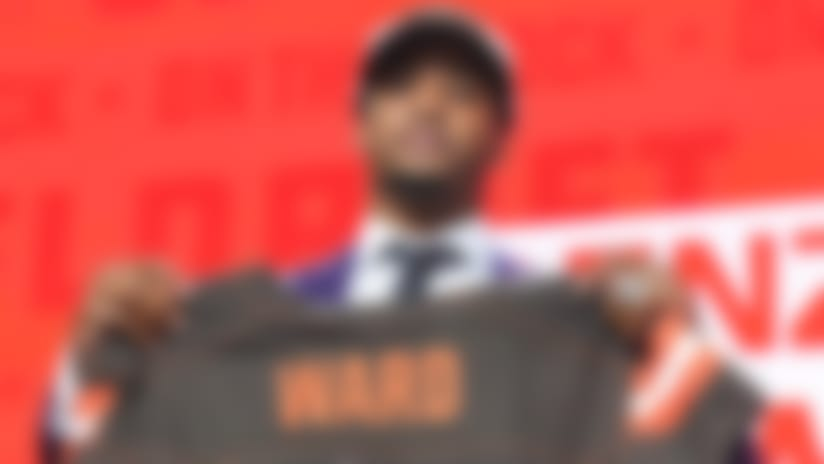 April 26, 2018: Denzel Ward poses after being picked #4 overall by the Cleveland Browns during the first round of the 2018 NFL Draft at AT&T Stadium in Arlington, TX