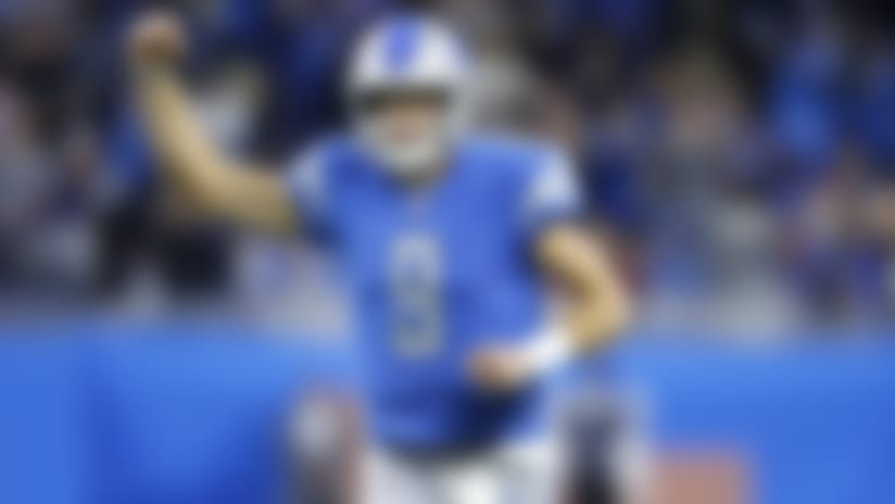 Detroit Lions quarterback Matthew Stafford (9) celebrates after throwing a touchdown pass during an NFL football game against the New York Giants, Sunday, Oct. 27, 2019 in Detroit. The Lions defeated the Giants 31-26. (Joe Robbins via AP)