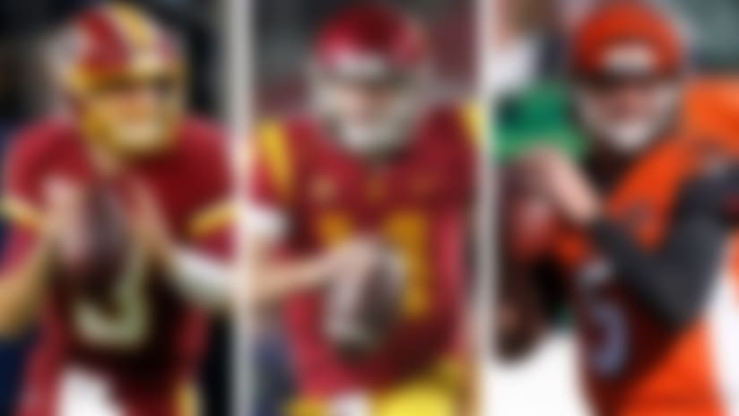 A split image of Kirk Cousins, Sam Darnold, and A.J. McCarron.
