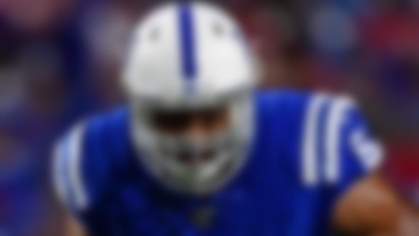 Indianapolis Colts' J'Marcus Webb (61) blocks during the second half of an NFL preseason football game against the Buffalo Bills, Thursday, Aug. 8, 2019, in Orchard Park, N.Y. The Bills won 24-16. (AP Photo/David Dermer)