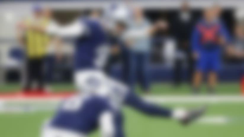 Dallas Cowboys kicker Kai Forbath (3) kicks during an NFL football game against the Los Angeles Rams in Arlington, Texas, Sunday, Dec. 15, 2019 (AP Photo/Michael Ainsworth)