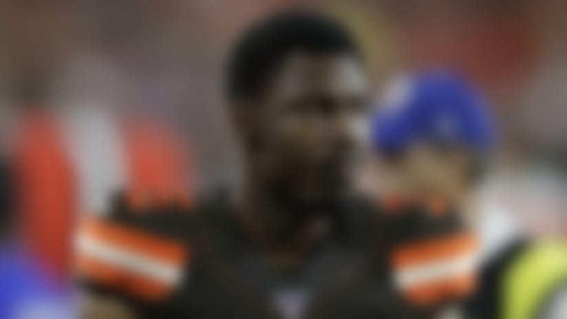 Cleveland Browns defensive back Jermaine Whitehead (35) walks off the field at halftime against the Detroit Lions of an NFL preseason football game, Thursday, Aug. 29, 2019, in Cleveland. (AP Photo/Ron Schwane)