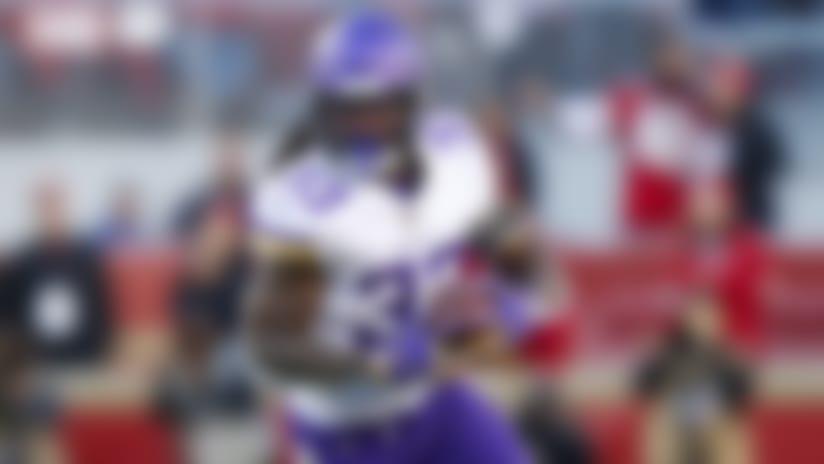Minnesota Vikings running back Dalvin Cook (33) runs the ball against the San Francisco 49ers during the second half of an NFL divisional playoff football game, Saturday, Jan. 11, 2020, in Santa Clara, Calif. (Tom DiPace via AP)