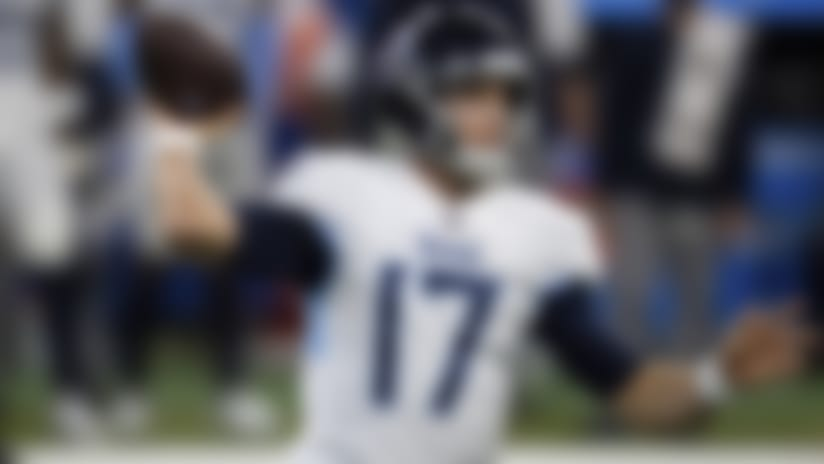 Tennessee Titans quarterback Ryan Tannehill (17) throws downfield from the pocket during an NFL football game against the Indianapolis Colts on Sunday, Nov. 29, 2020, in Indianapolis. (AP Photo/Zach Bolinger)
