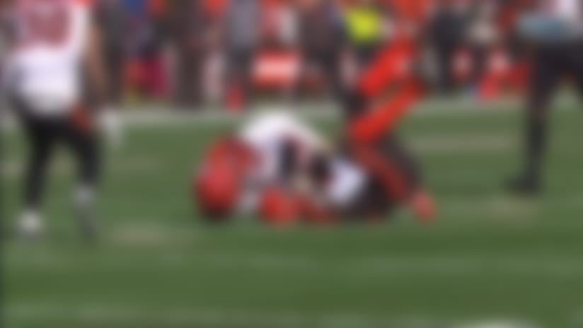 Nick Vigil wrestles ball from David Njoku for outstanding fumble recovery