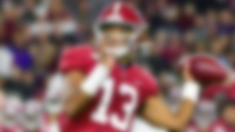 FILE - In this Nov. 9, 2019, file photo, Alabama quarterback Tua Tagovailoa plays in an NCAA football game in Tuscaloosa, Ala. Tagovailoa is a likely first round pick in the NFL Draft Thursday, April 23, 2020. (AP Photo/Vasha Hunt, File)