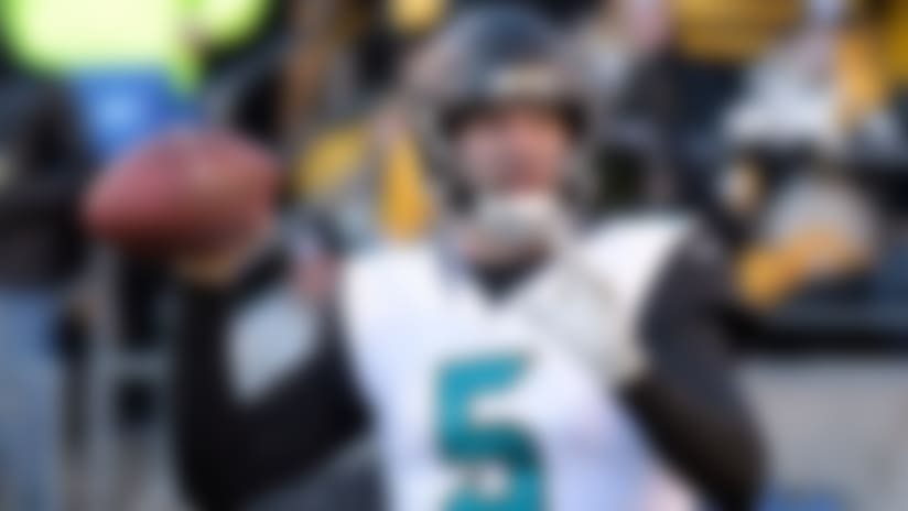 Jacksonville Jaguars quarterback Blake Bortles passes against the Pittsburgh Steelers during the second half of an NFL divisional football AFC playoff game in Pittsburgh, Sunday, Jan. 14, 2018. (AP Photo/Don Wright)