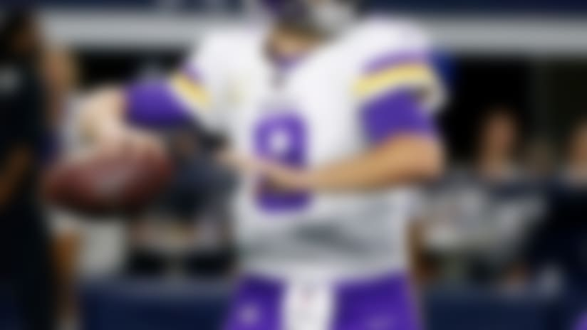 Minnesota Vikings quarterback Kirk Cousins (8) throws a pass in the first half of an NFL football game against the Dallas Cowboys in Arlington, Texas, Sunday, Nov. 10, 2019. (AP Photo/Ron Jenkins)