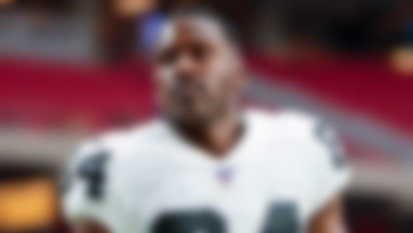 Aug 15, 2019; Glendale, AZ, USA; Oakland Raiders wide receiver Antonio Brown (84) during a preseason game against the Arizona Cardinals at State Farm Stadium. Mandatory Credit: Mark J. Rebilas-USA TODAY Sports