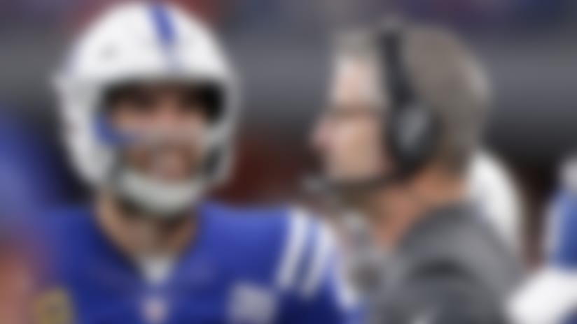 Indianapolis Colts quarterback Andrew Luck (12) talks with head coach Frank Reich during the first half of an NFL football game against the Tennessee Titans, Sunday, Nov. 18, 2018, in Indianapolis. (AP Photo/Michael Conroy)
