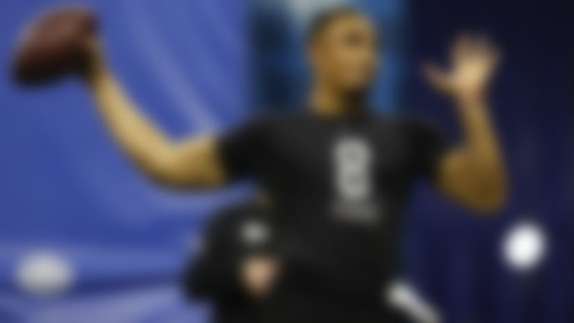 Oklahoma quarterback Jalen Hurts throws the ball during the NFL football scouting combine, Thursday, Feb. 27, 2020, in Indianapolis. (Aaron M. Sprecher via AP)