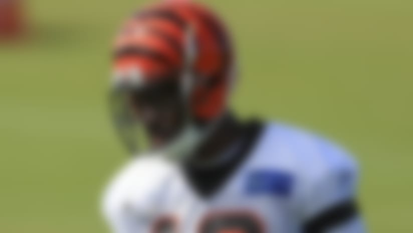 Cincinnati Bengals' A.J. Green stands on the field during an NFL football camp practice in Cincinnati, Monday, Aug. 17, 2020. (AP Photo/Aaron Doster)