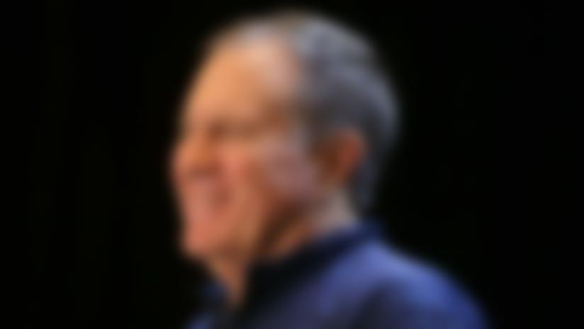 Jan 30, 2019; Atlanta, GA, USA; New England Patriots head coach Bill Belichick addresses the media at a press conference for Super Bowl LIII at Hyatt Regency Atlanta. Mandatory Credit: Brett Davis-USA TODAY Sports