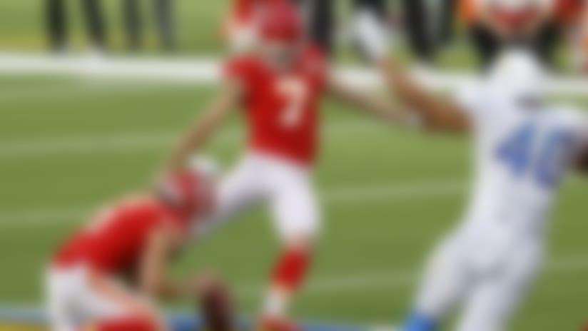Kansas City Chiefs place kicker Harrison Butker (7) kicks the game-winning field goal during the football game on Sunday, September 20, 2020 in Inglewood, California. (Ryan Kang/NFL)