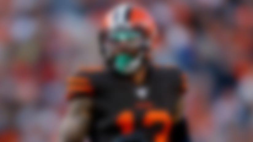 Cleveland Browns wide receiver Odell Beckham (13) lines up against the Denver Broncos during the first half of NFL football game, Sunday, Nov. 3, 2019, in Denver. (AP Photo/David Zalubowski)