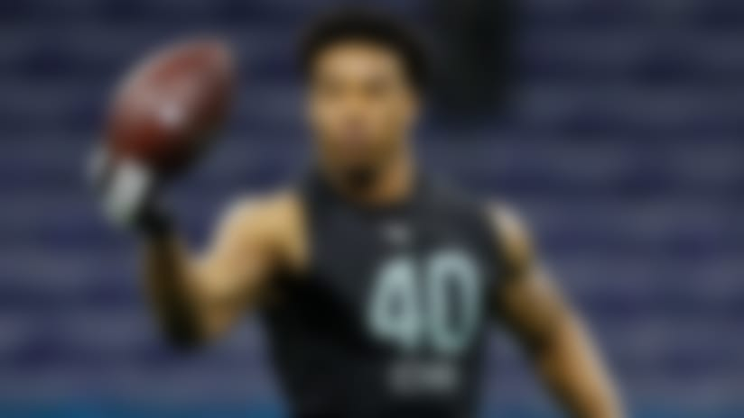 Southern Illinois defensive back Jeremy Chinn runs a drill at the NFL football scouting combine in Indianapolis, Sunday, March 1, 2020. (AP Photo/Charlie Neibergall)