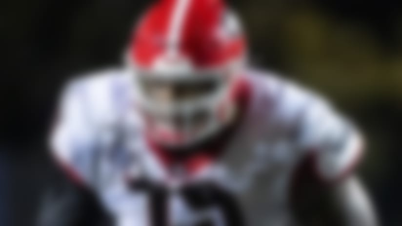 Georgia Bulldogs offensive lineman Isaiah Wilson (79) moves in position against the Vanderbilt Commodores during an NCAA football game on Saturday, Aug. 31, 2019 in Nashville, Tenn. (AP Photo/Brett Carlsen)