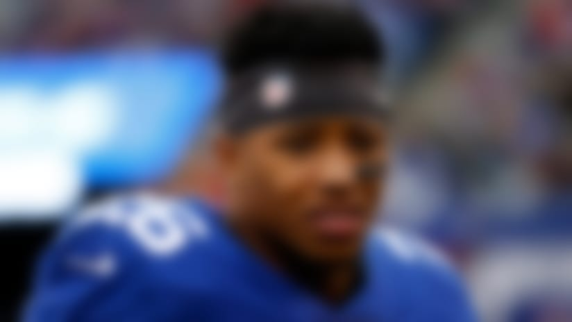 New York Giants running back Saquon Barkley (26) on the sidelines against the Tampa Bay Buccaneers during an NFL football game Sunday, Nov. 18, 2018, in East Rutherford, N.J. (AP Photo/Adam Hunger)