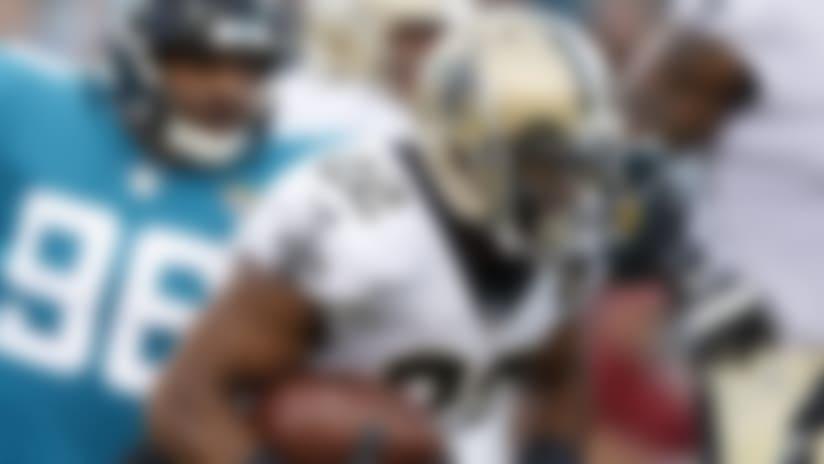 New Orleans Saints running back Mark Ingram (22) carries the ball during an NFL preseason football game against the Jacksonville Jaguars, Thursday, Aug. 9, 2018, in Jacksonville, Fla. The Saints won 24-20. (Paul Abell via AP)