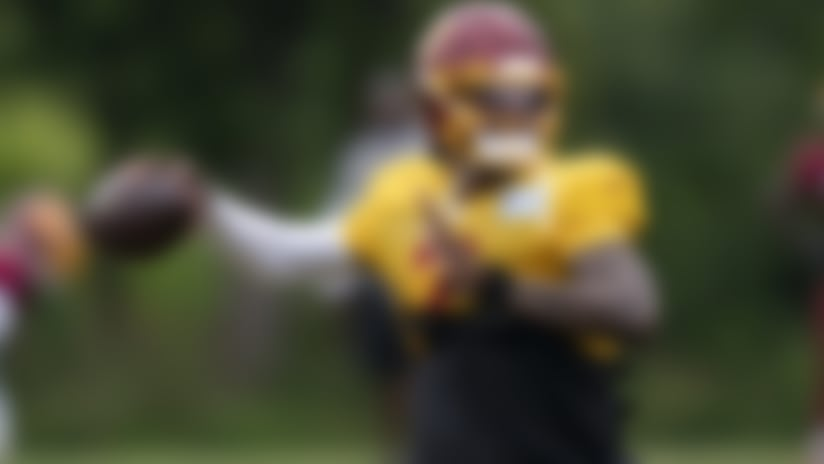 Washington quarterback Dwayne Haskins Jr. (7) throws during practice at the team's NFL football training facility, Wednesday, Aug. 19, 2020, in Ashburn, Va. (AP Photo/Alex Brandon)