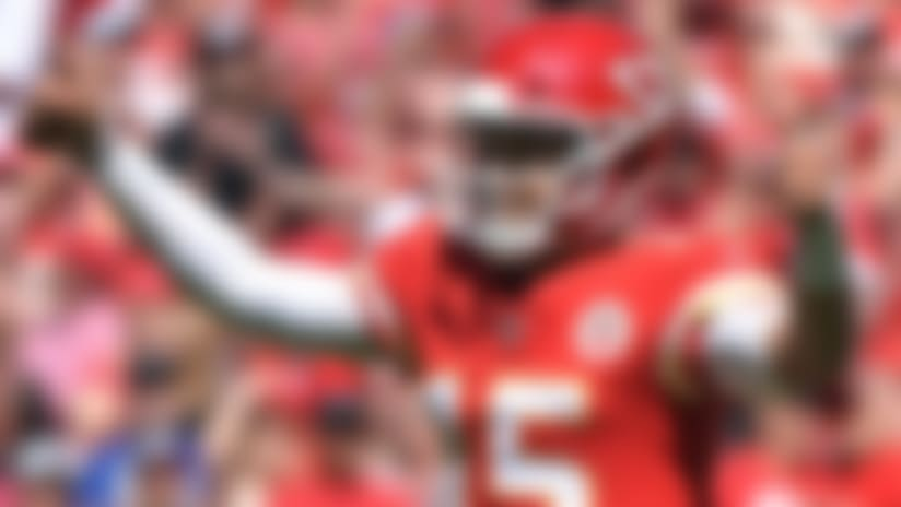 Kansas City Chiefs quarterback Patrick Mahomes (15) reacts to his second touchdown pass against the San Francisco 49ers in an NFL football game, in Kansas City, Mo, Sunday, Sept. 23, 2018. (AP Photo/Ed Zurga)