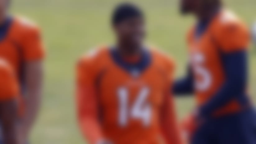 Denver Broncos wide receiver Courtland Sutton (14) takes part in drills during an NFL football practice at the team's headquarters Monday, Aug. 24, 2020, in Englewood, Colo. (AP Photo/David Zalubowski)