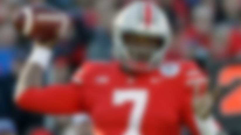 FILE - In this Jan. 1, 2019, file photo, Ohio State quarterback Dwayne Haskins passes during the first half of the Rose Bowl NCAA college football game against Washington, in Pasadena, Calif. A record number of college football players are bypassing remaining years of eligibility to enter the NFL draft, including Dwayne Haskins. (AP Photo/Jae C. Hong, File)