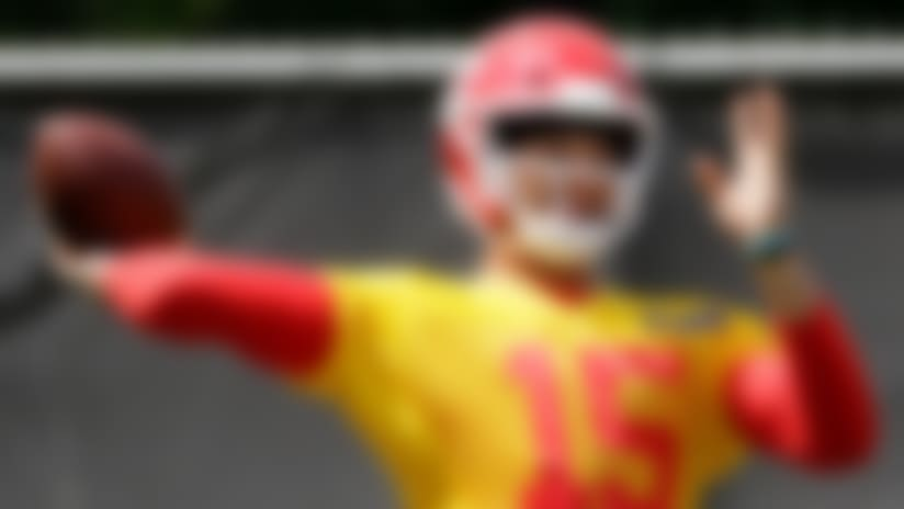 Kansas City Chiefs quarterback Patrick Mahomes (15) throws during a workout at their NFL football training facility Wednesday, June 12, 2019, in Kansas City, Mo. (AP Photo/Charlie Riedel)