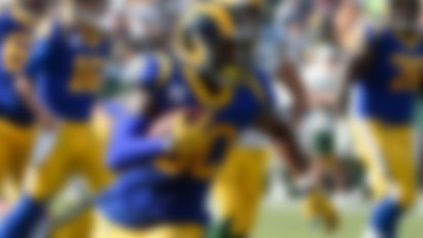 Los Angeles Rams running back Todd Gurley runs enroute to a touchdown during the second half of an NFL football game against the Green Bay Packers, Sunday, Oct. 28, 2018, in Los Angeles. (AP Photo/Denis Poroy)