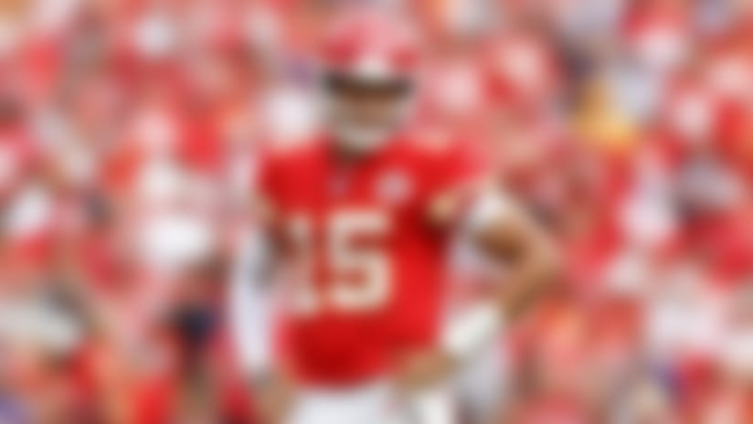 Kansas City Chiefs quarterback Patrick Mahomes (15) celebrates during an NFL football game against the XXXX, Sunday, Sep. 22, 2019 in Kansas City, Mo. (Ryan Kang/NFL)Ryan Kang/NFL