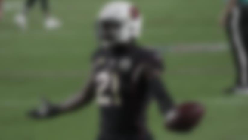 Arizona Cardinals cornerback Patrick Peterson (21) celebrates an interception during an NFL game against the Seattle Seahawks, Sunday, Oct. 25th, 2020 in Glendale, AZ. (Tanner Serrano via AP)